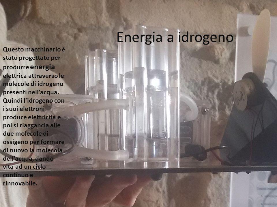 Energia a idrogeno Questo macchinario è stato progettato per produrre energia elettrica attraverso le molecole di idrogeno presenti nell'acqua. Quindi
