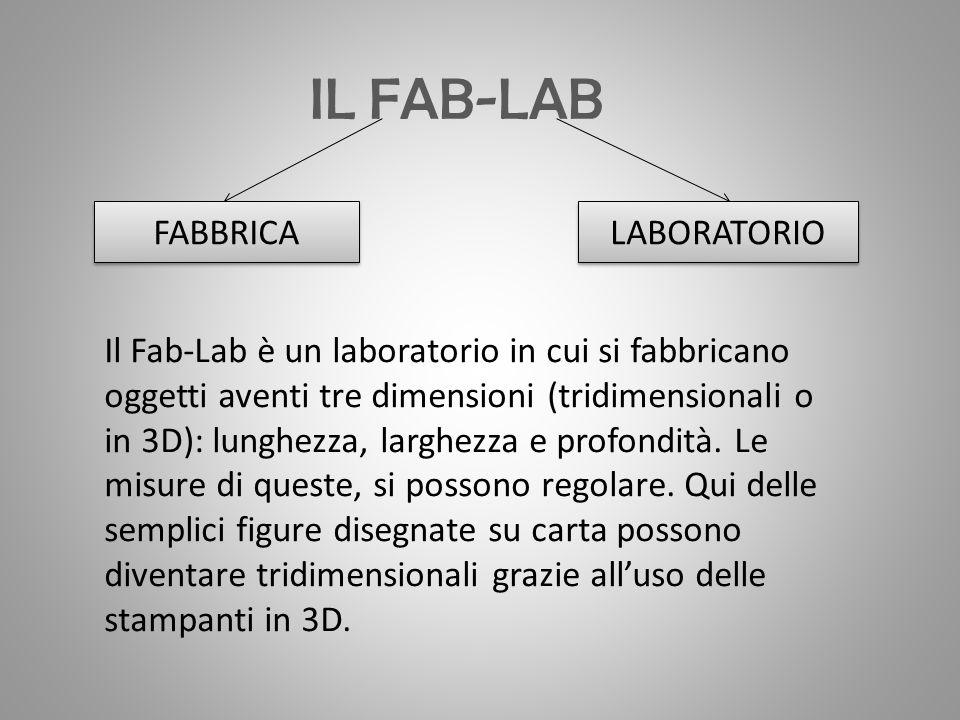 IL FAB-LAB FABBRICA LABORATORIO Il Fab-Lab è un laboratorio in cui si fabbricano oggetti aventi tre dimensioni (tridimensionali o in 3D): lunghezza, larghezza e profondità.