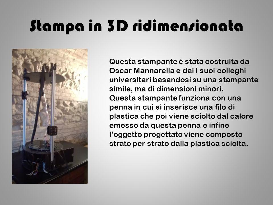 Stampa in 3D ridimensionata Questa stampante è stata costruita da Oscar Mannarella e dai i suoi colleghi universitari basandosi su una stampante simile, ma di dimensioni minori.