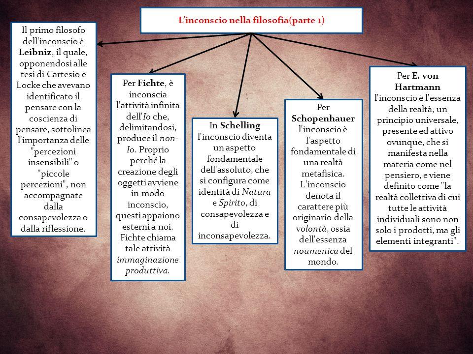 a L'inconscio nella filosofia(parte 1) Il primo filosofo dell inconscio è Leibniz, il quale, opponendosi alle tesi di Cartesio e Locke che avevano identificato il pensare con la coscienza di pensare, sottolinea l importanza delle percezioni insensibili o piccole percezioni , non accompagnate dalla consapevolezza o dalla riflessione.
