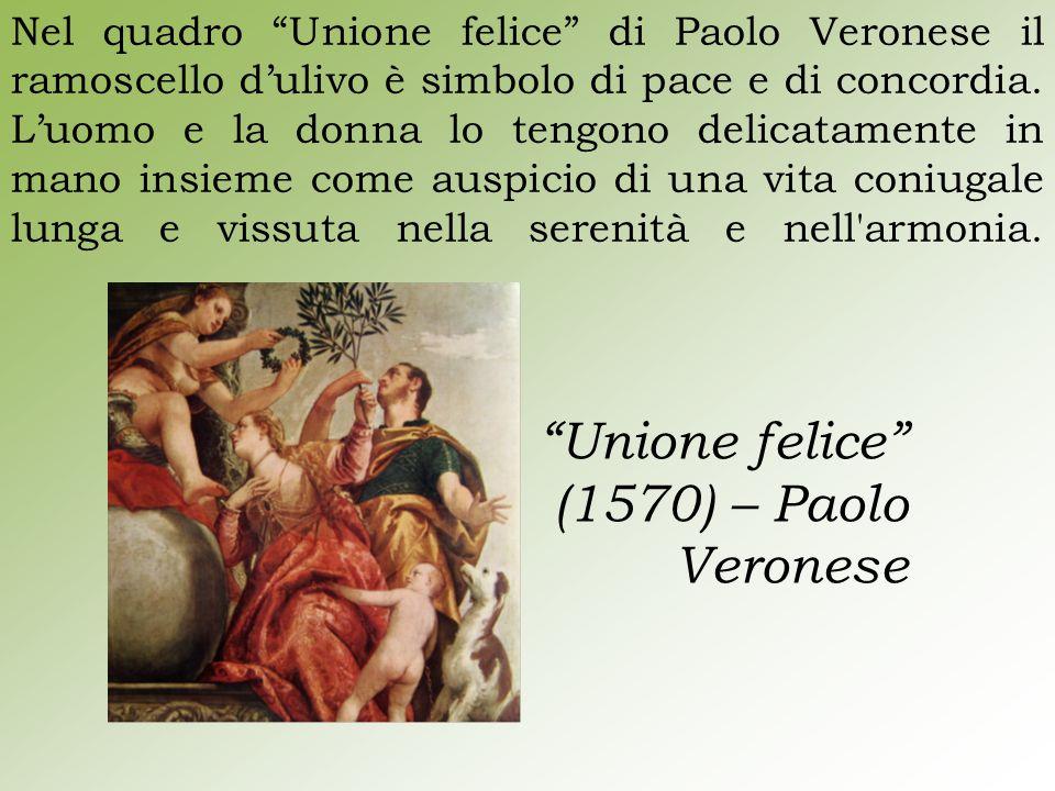 """Nel quadro """"Unione felice"""" di Paolo Veronese il ramoscello d'ulivo è simbolo di pace e di concordia. L'uomo e la donna lo tengono delicatamente in man"""