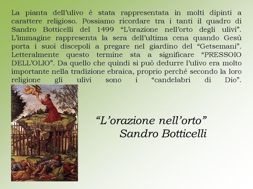 La pianta dell'ulivo è stata rappresentata in molti dipinti a carattere religioso. Possiamo ricordare tra i tanti il quadro di Sandro Botticelli del 1