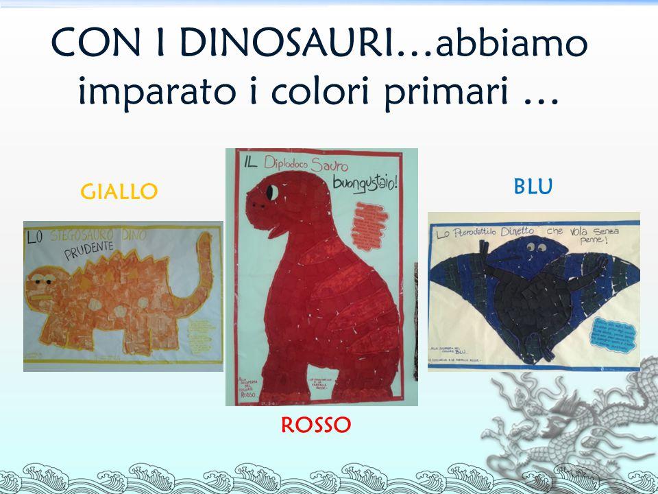 CON I DINOSAURI…abbiamo imparato i colori primari … GIALLO BLU ROSSO