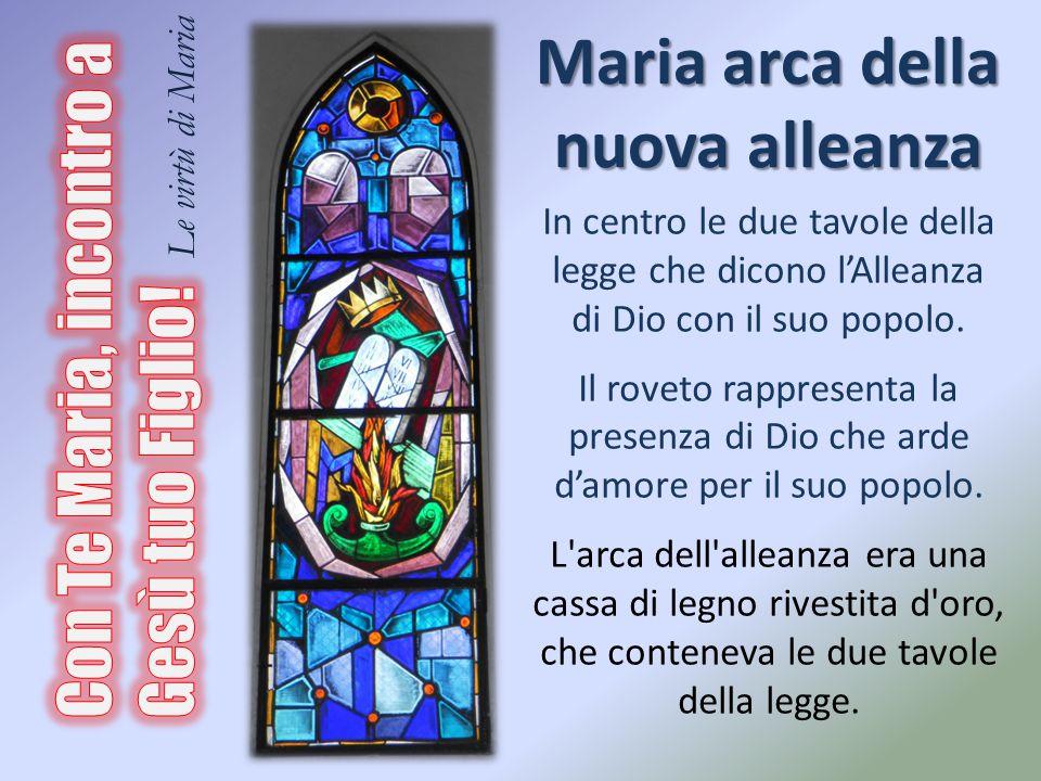Maria arca della nuova alleanza In centro le due tavole della legge che dicono l'Alleanza di Dio con il suo popolo. Il roveto rappresenta la presenza