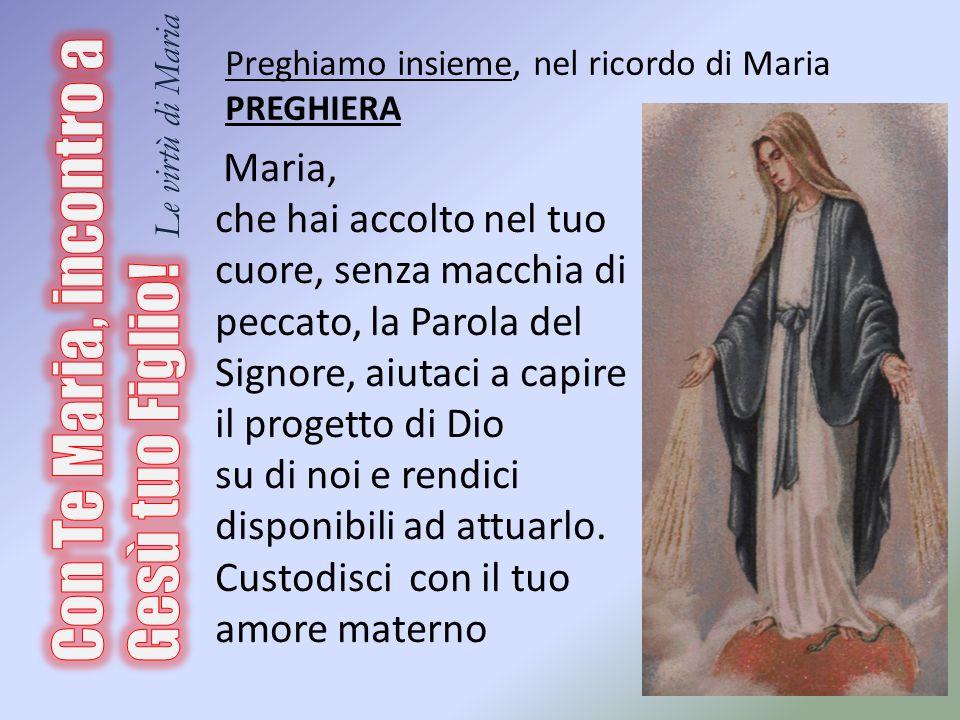 Maria, che hai accolto nel tuo cuore, senza macchia di peccato, la Parola del Signore, aiutaci a capire il progetto di Dio su di noi e rendici disponi
