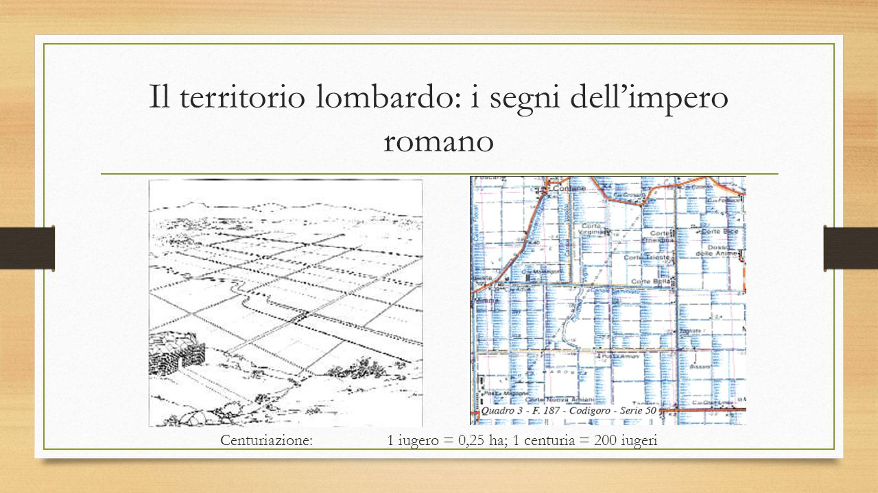 Il territorio lombardo: i segni dell'impero romano Centuriazione: 1 iugero = 0,25 ha; 1 centuria = 200 iugeri