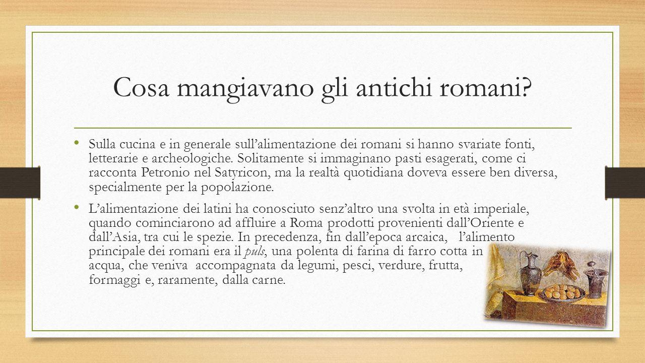 Cosa mangiavano gli antichi romani? Sulla cucina e in generale sull'alimentazione dei romani si hanno svariate fonti, letterarie e archeologiche. Soli