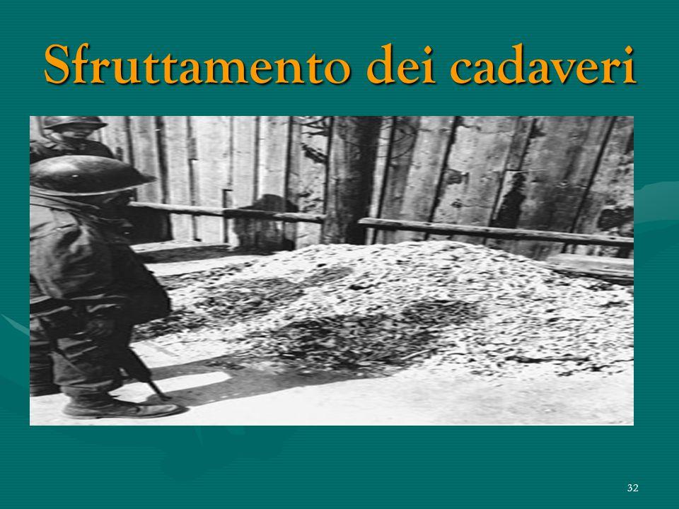 31 Sfruttamento dei cadaveri L'Armata Sovietica, liberando il campo di concentramento trovò nei magazzini circa 7000 kg di capelli racchiusi in sacchi