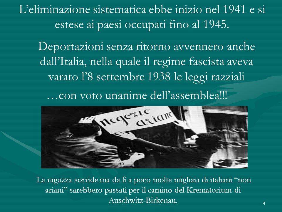 4 L'eliminazione sistematica ebbe inizio nel 1941 e si estese ai paesi occupati fino al 1945.