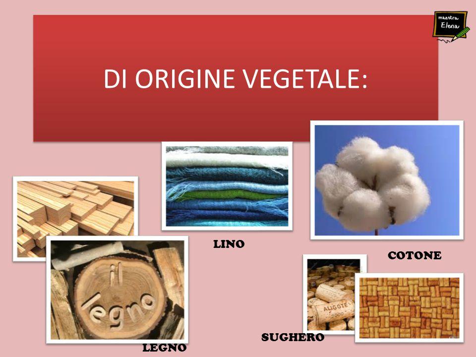 DI ORIGINE VEGETALE: COTONE SUGHERO LINO LEGNO