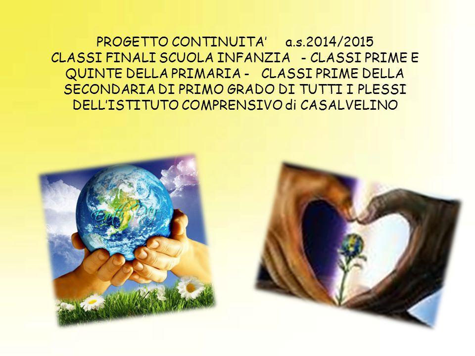 PROGETTO CONTINUITA' a.s.2014/2015 CLASSI FINALI SCUOLA INFANZIA - CLASSI PRIME E QUINTE DELLA PRIMARIA - CLASSI PRIME DELLA SECONDARIA DI PRIMO GRADO DI TUTTI I PLESSI DELL'ISTITUTO COMPRENSIVO di CASALVELINO