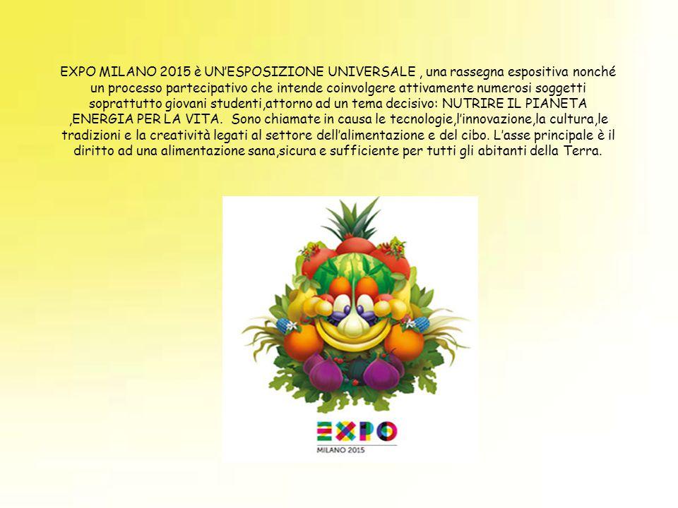 EXPO MILANO 2015 è UN'ESPOSIZIONE UNIVERSALE, una rassegna espositiva nonché un processo partecipativo che intende coinvolgere attivamente numerosi so