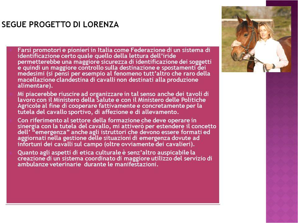 SEGUE PROGETTO DI LORENZA  Farsi promotori e pionieri in Italia come Federazione di un sistema di identificazione certo quale quello della lettura de