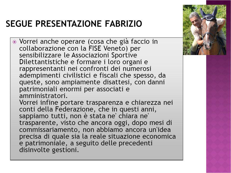 SEGUE PRESENTAZIONE FABRIZIO  Vorrei anche operare (cosa che già faccio in collaborazione con la FISE Veneto) per sensibilizzare le Associazioni Spor