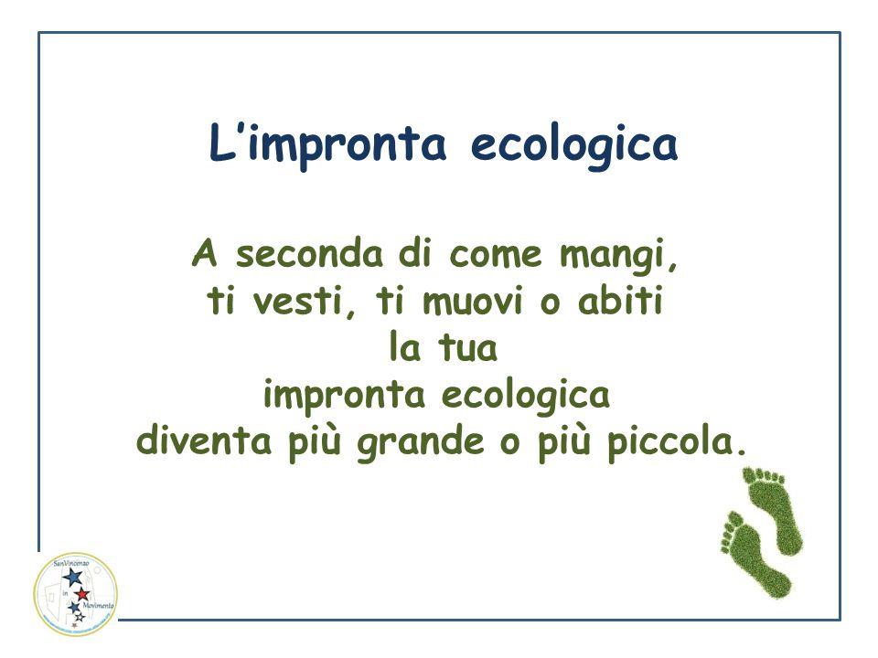L'impronta ecologica A seconda di come mangi, ti vesti, ti muovi o abiti la tua impronta ecologica diventa più grande o più piccola.