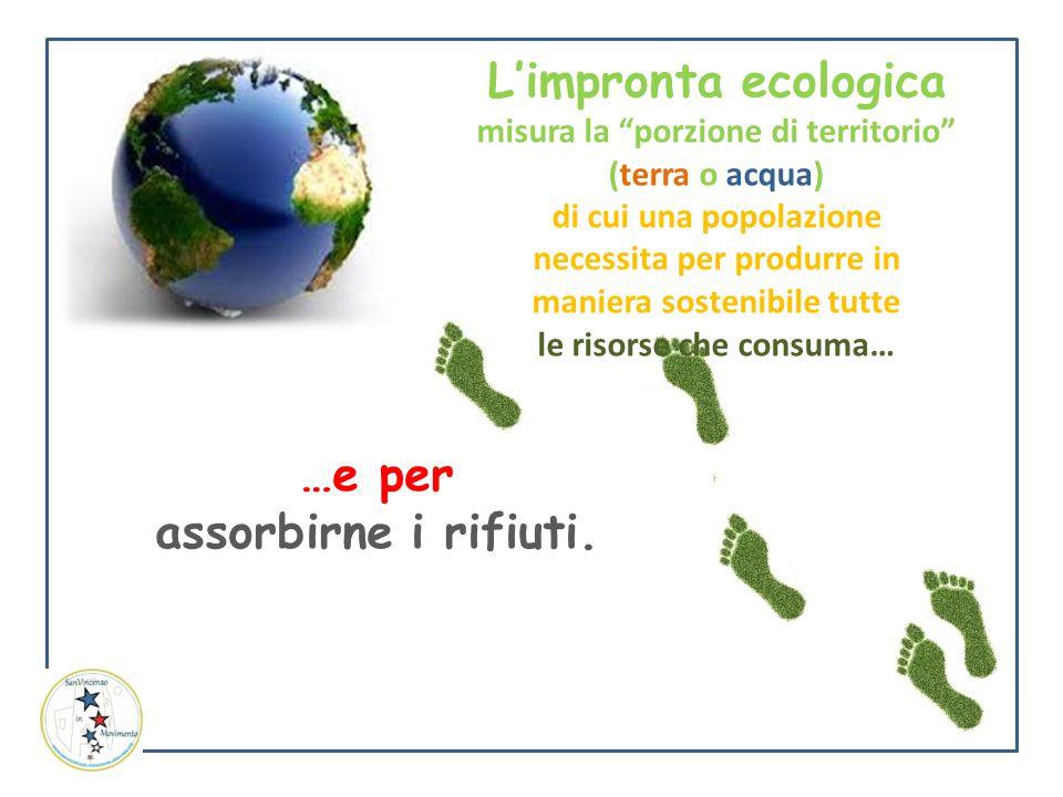"""L'impronta ecologica misura la """"porzione di territorio"""" (terra o acqua) di cui una popolazione necessita per produrre in maniera sostenibile tutte le"""