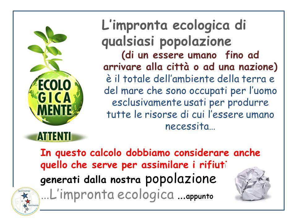 L'impronta ecologica di qualsiasi popolazione (di un essere umano fino ad arrivare alla città o ad una nazione) è il totale dell'ambiente della terra