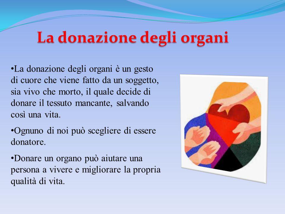 La donazione degli organi La donazione degli organi è un gesto di cuore che viene fatto da un soggetto, sia vivo che morto, il quale decide di donare