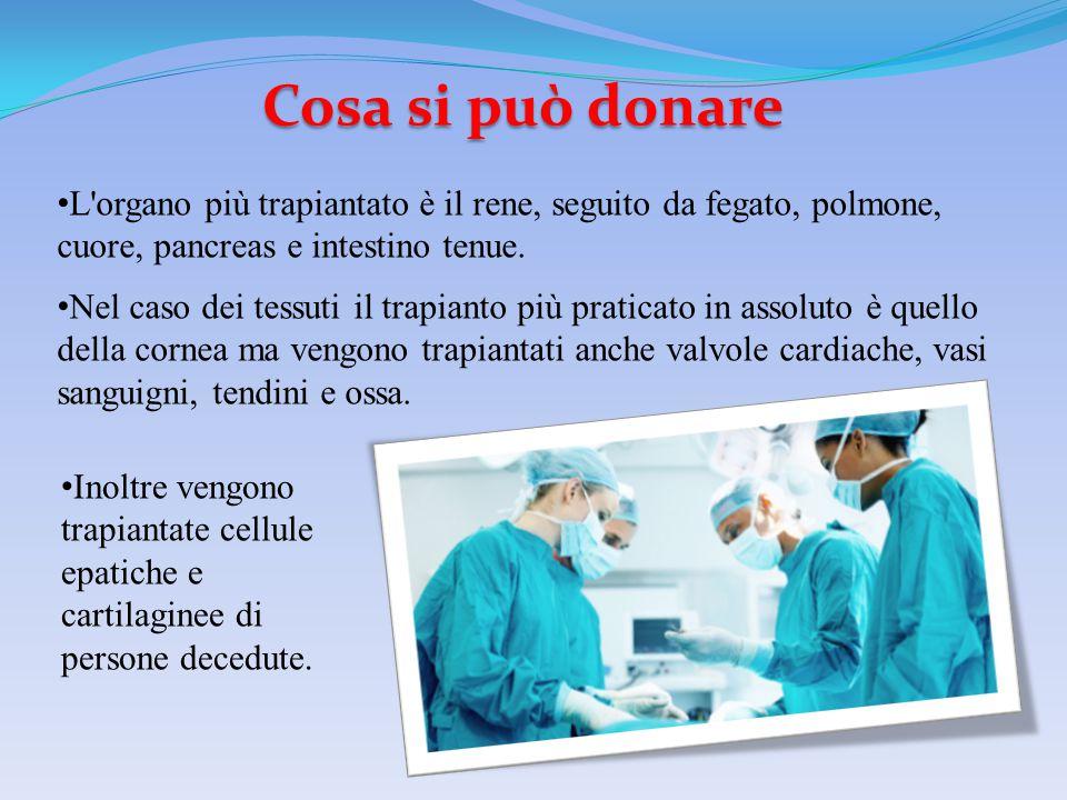 Cosa si può donare L'organo più trapiantato è il rene, seguito da fegato, polmone, cuore, pancreas e intestino tenue. Nel caso dei tessuti il trapiant