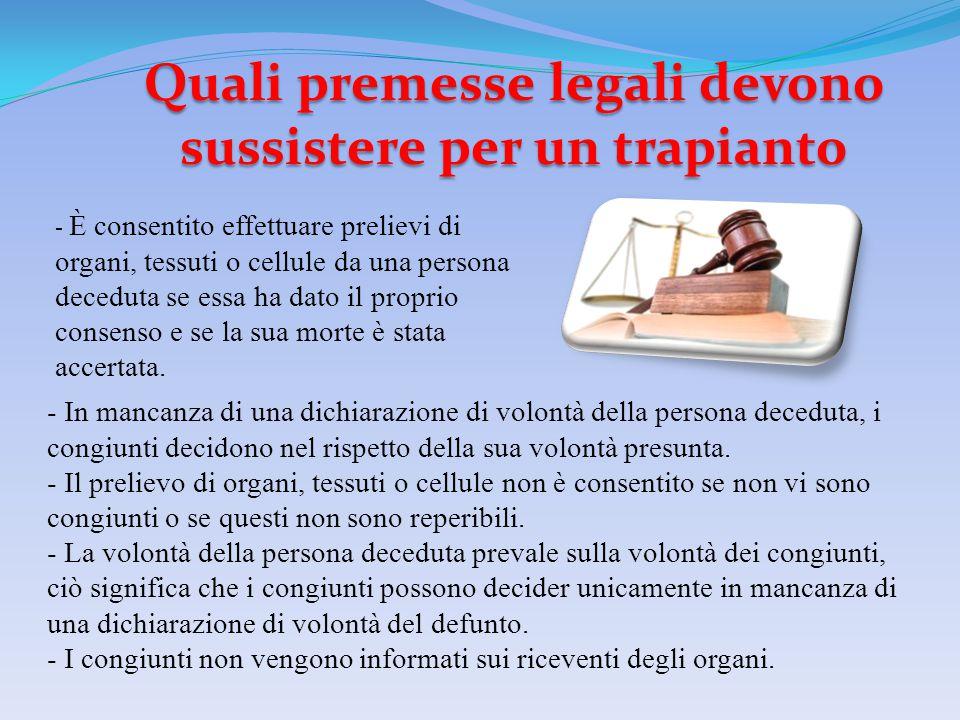 Quali premesse legali devono sussistere per un trapianto - In mancanza di una dichiarazione di volontà della persona deceduta, i congiunti decidono ne