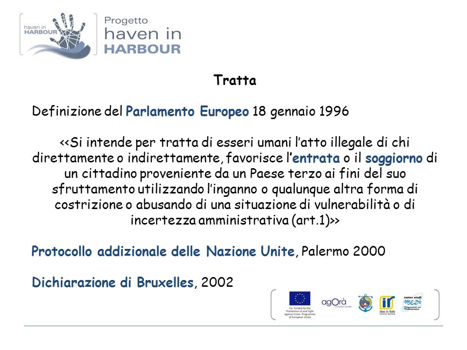 Tratta Definizione del Parlamento Europeo 18 gennaio 1996 > Protocollo addizionale delle Nazione Unite, Palermo 2000 Dichiarazione di Bruxelles, 2002