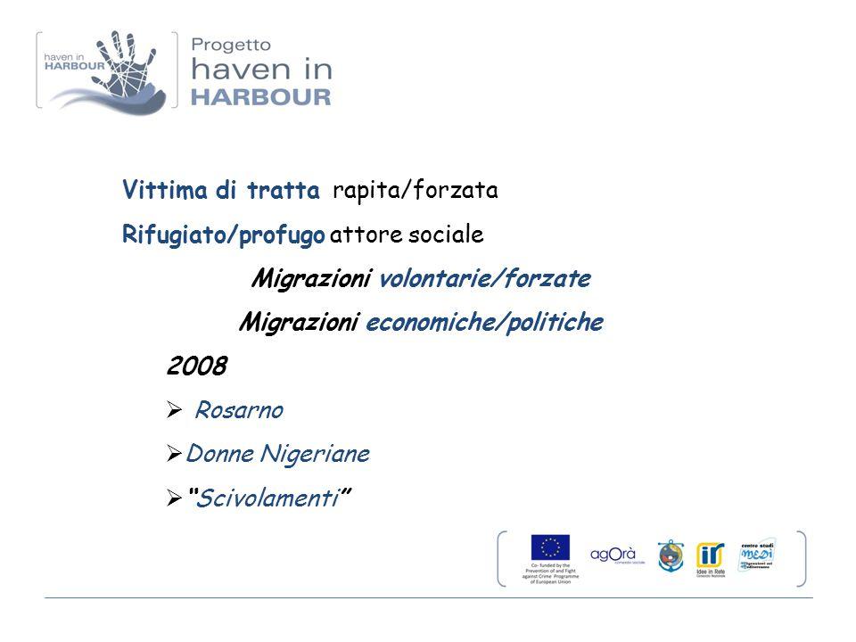 Vittima di tratta rapita/forzata Rifugiato/profugo attore sociale Migrazioni volontarie/forzate Migrazioni economiche/politiche 2008  Rosarno  Donne Nigeriane  Scivolamenti