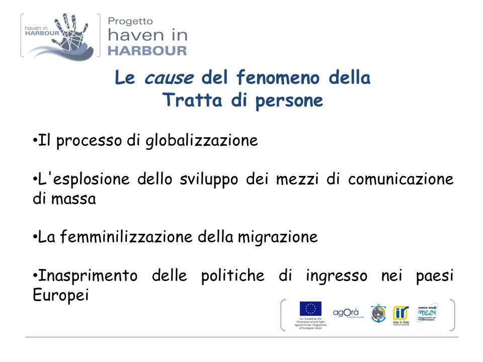 Le cause del fenomeno della Tratta di persone Il processo di globalizzazione L esplosione dello sviluppo dei mezzi di comunicazione di massa La femminilizzazione della migrazione Inasprimento delle politiche di ingresso nei paesi Europei