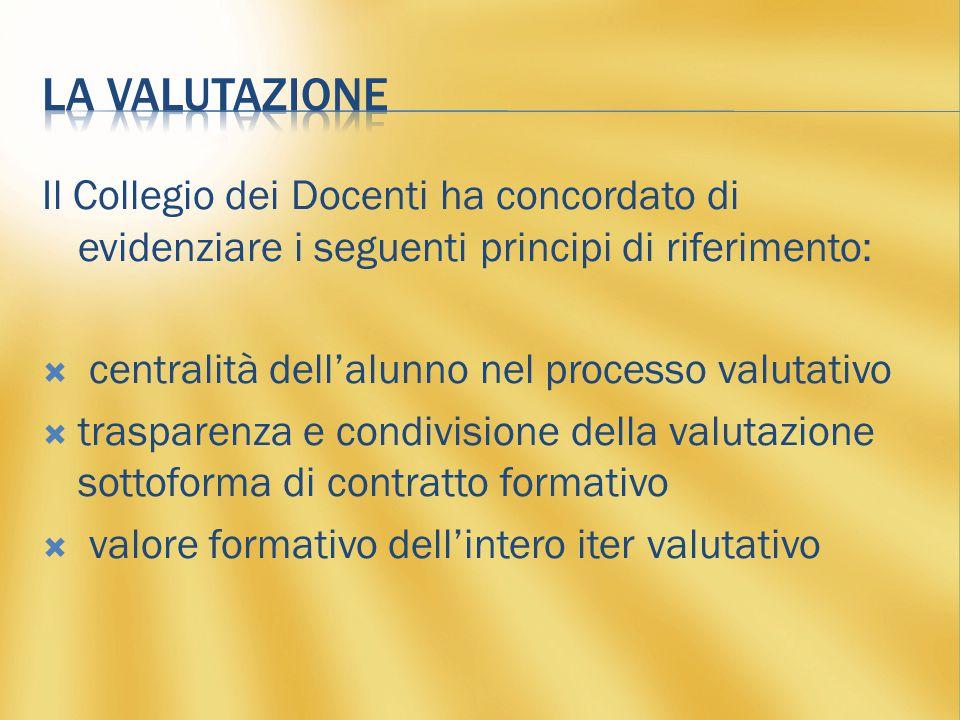 Il Collegio dei Docenti ha concordato di evidenziare i seguenti principi di riferimento:  centralità dell'alunno nel processo valutativo  trasparenza e condivisione della valutazione sottoforma di contratto formativo  valore formativo dell'intero iter valutativo