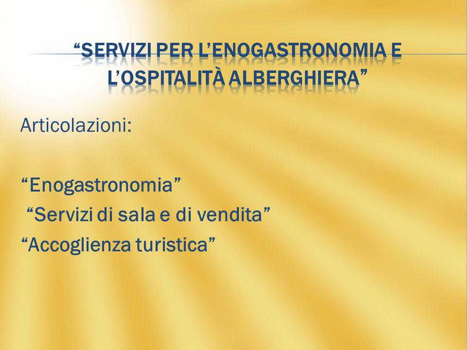 Articolazioni: Enogastronomia Servizi di sala e di vendita Accoglienza turistica