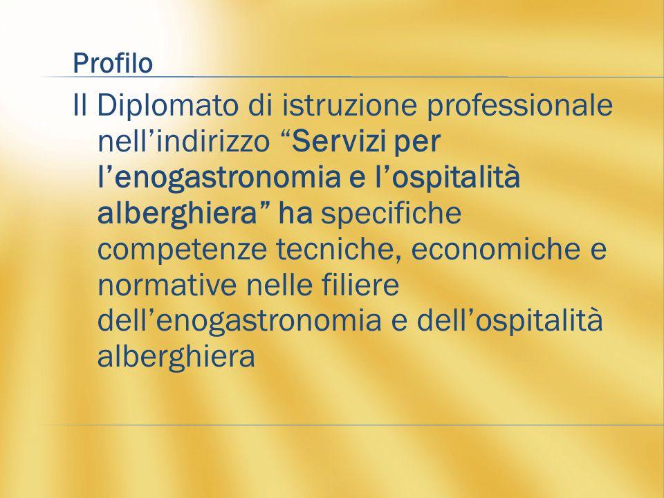 Profilo Il Diplomato di istruzione professionale nell'indirizzo Servizi per l'enogastronomia e l'ospitalità alberghiera ha specifiche competenze tecniche, economiche e normative nelle filiere dell'enogastronomia e dell'ospitalità alberghiera