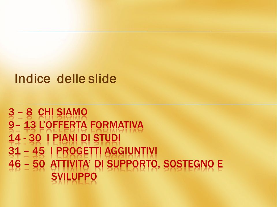 Indice delle slide