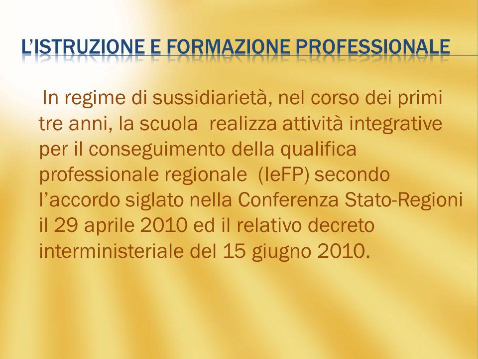 In regime di sussidiarietà, nel corso dei primi tre anni, la scuola realizza attività integrative per il conseguimento della qualifica professionale regionale (IeFP) secondo l'accordo siglato nella Conferenza Stato-Regioni il 29 aprile 2010 ed il relativo decreto interministeriale del 15 giugno 2010.