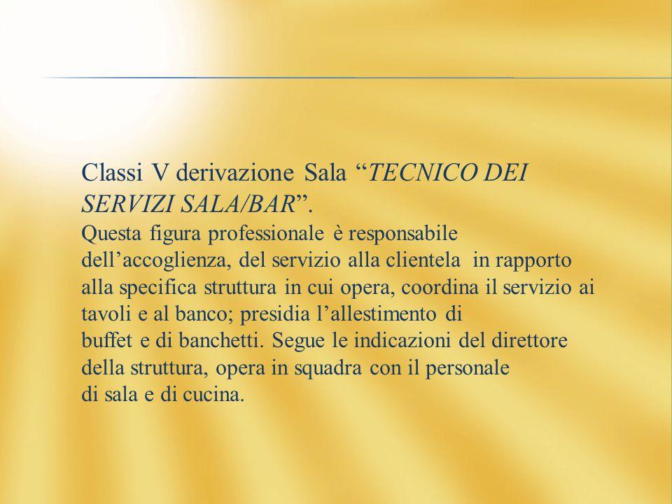 Classi V derivazione Sala TECNICO DEI SERVIZI SALA/BAR .