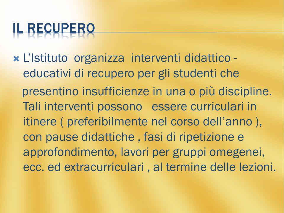  L'Istituto organizza interventi didattico - educativi di recupero per gli studenti che presentino insufficienze in una o più discipline.