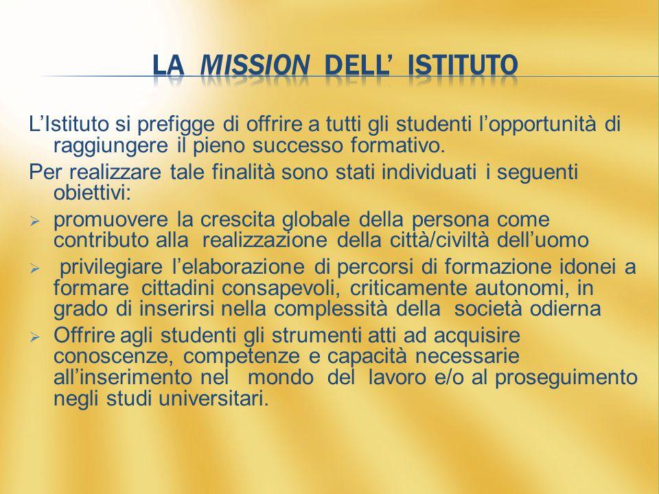 L'Istituto si prefigge di offrire a tutti gli studenti l'opportunità di raggiungere il pieno successo formativo.
