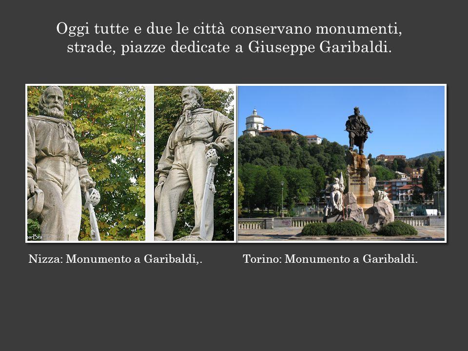 Nizza: Monumento a Garibaldi,.Torino: Monumento a Garibaldi.