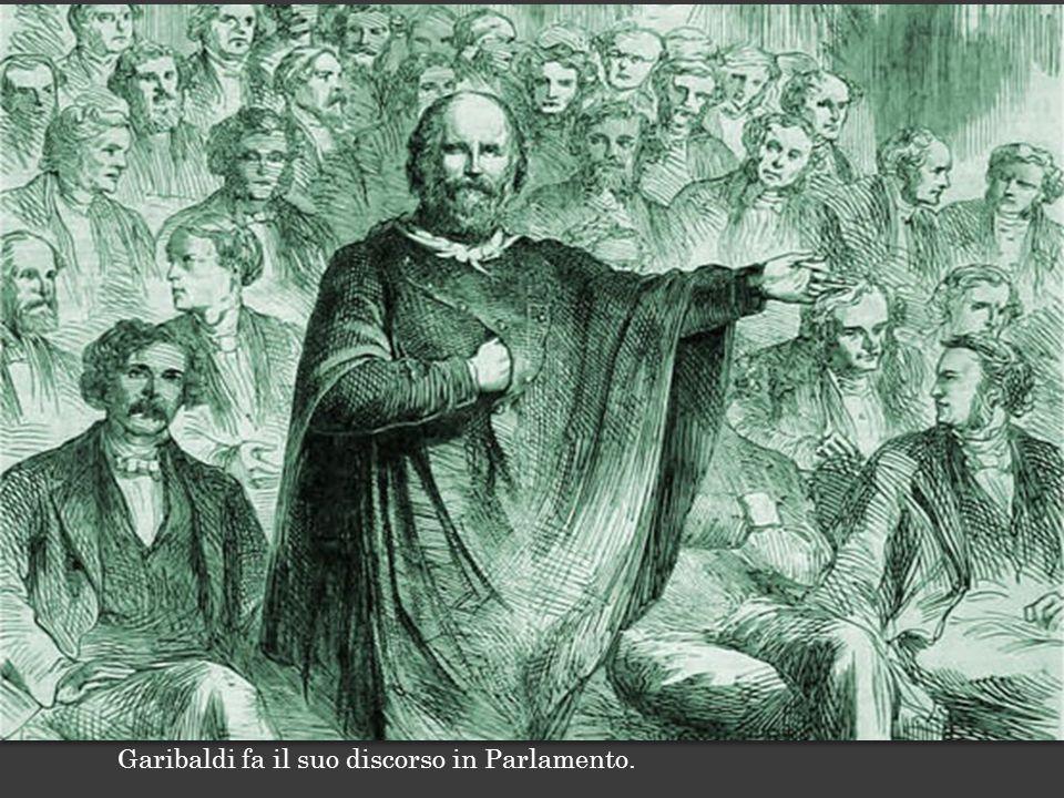 Garibaldi fa il suo discorso in Parlamento.