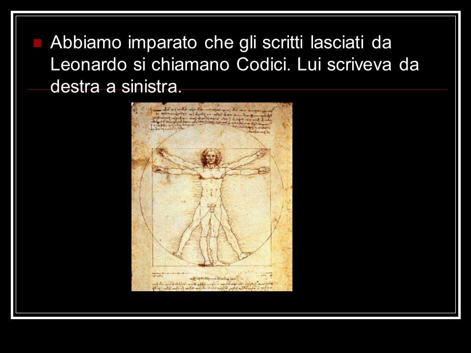 Abbiamo imparato che gli scritti lasciati da Leonardo si chiamano Codici. Lui scriveva da destra a sinistra.