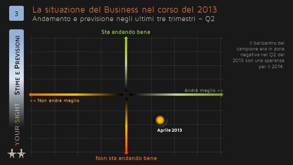 YOUR SIGHT La situazione del Business nel corso del 2013 Andamento e previsione negli ultimi tre trimestri – Q2 S TIME E P REVISIONI 3 Il baricentro del campione era in zona negativa nel Q2 del 2013 con una speranza per il 2014.