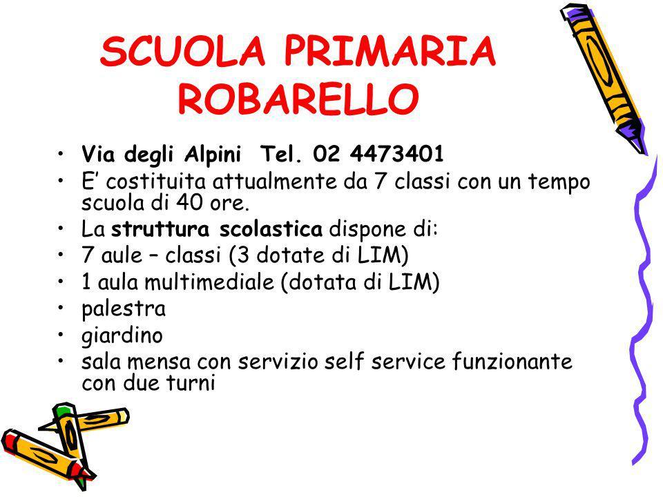 SCUOLA PRIMARIA ROBARELLO Via degli Alpini Tel. 02 4473401 E' costituita attualmente da 7 classi con un tempo scuola di 40 ore. La struttura scolastic