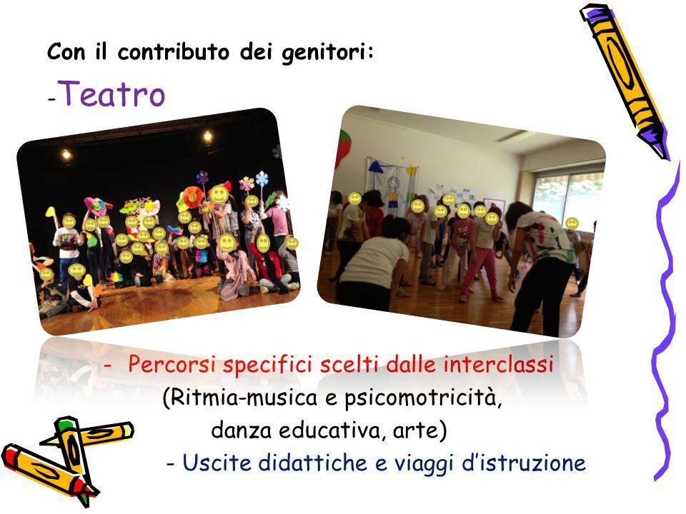 Con il contributo dei genitori: - Teatro -Percorsi specifici scelti dalle interclassi (Ritmia-musica e psicomotricità, danza educativa, arte) - Uscite