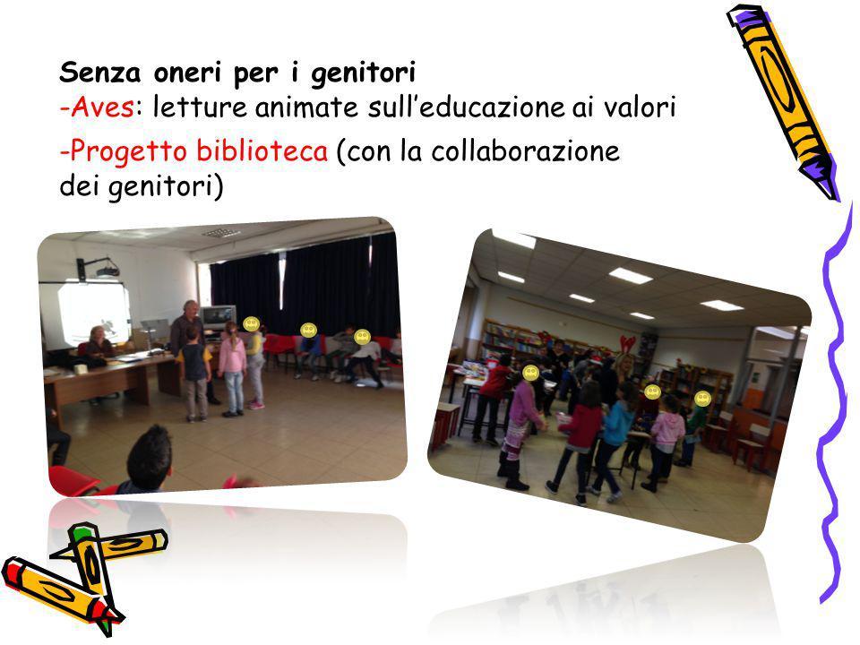 Senza oneri per i genitori -Aves: letture animate sull'educazione ai valori -Progetto biblioteca (con la collaborazione dei genitori)