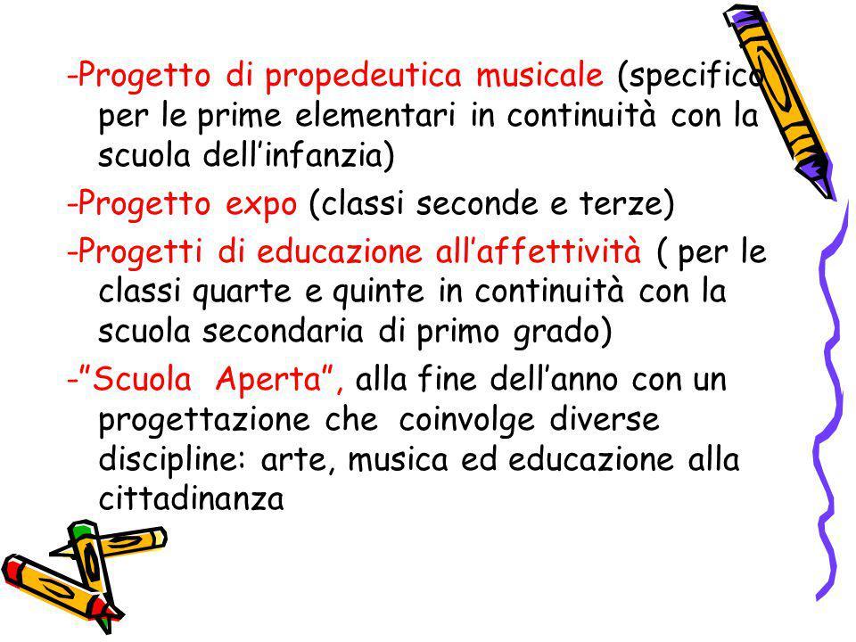 -Progetto di propedeutica musicale (specifico per le prime elementari in continuità con la scuola dell'infanzia) -Progetto expo (classi seconde e terz