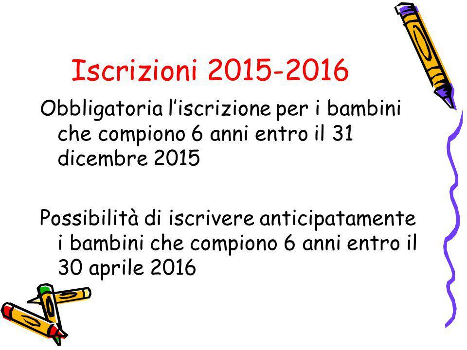 Iscrizioni 2015-2016 Obbligatoria l'iscrizione per i bambini che compiono 6 anni entro il 31 dicembre 2015 Possibilità di iscrivere anticipatamente i
