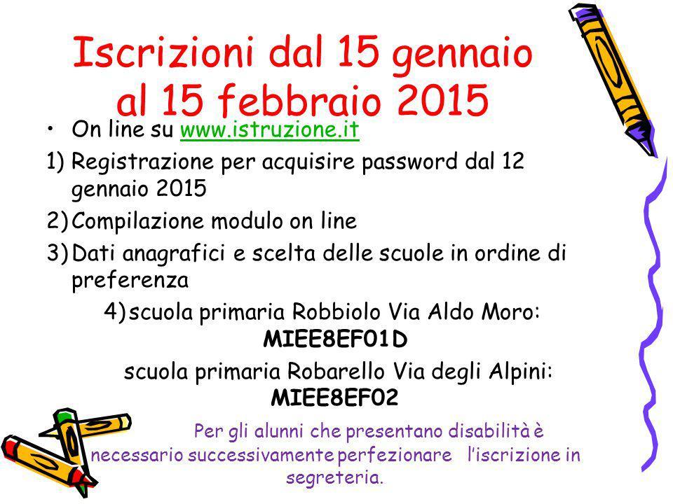Iscrizioni dal 15 gennaio al 15 febbraio 2015 On line su www.istruzione.itwww.istruzione.it 1)Registrazione per acquisire password dal 12 gennaio 2015
