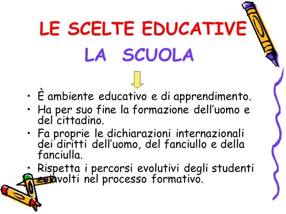 LE SCELTE EDUCATIVE È ambiente educativo e di apprendimento. Ha per suo fine la formazione dell'uomo e del cittadino. Fa proprie le dichiarazioni inte