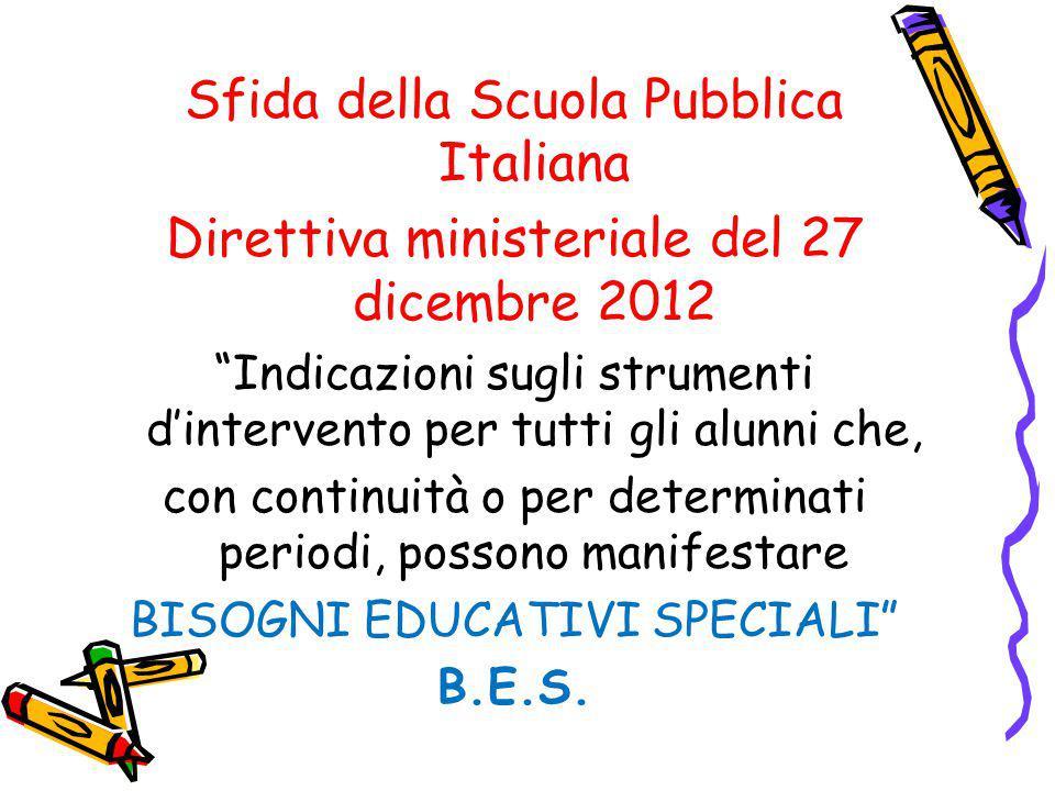 """Sfida della Scuola Pubblica Italiana Direttiva ministeriale del 27 dicembre 2012 """"Indicazioni sugli strumenti d'intervento per tutti gli alunni che, c"""