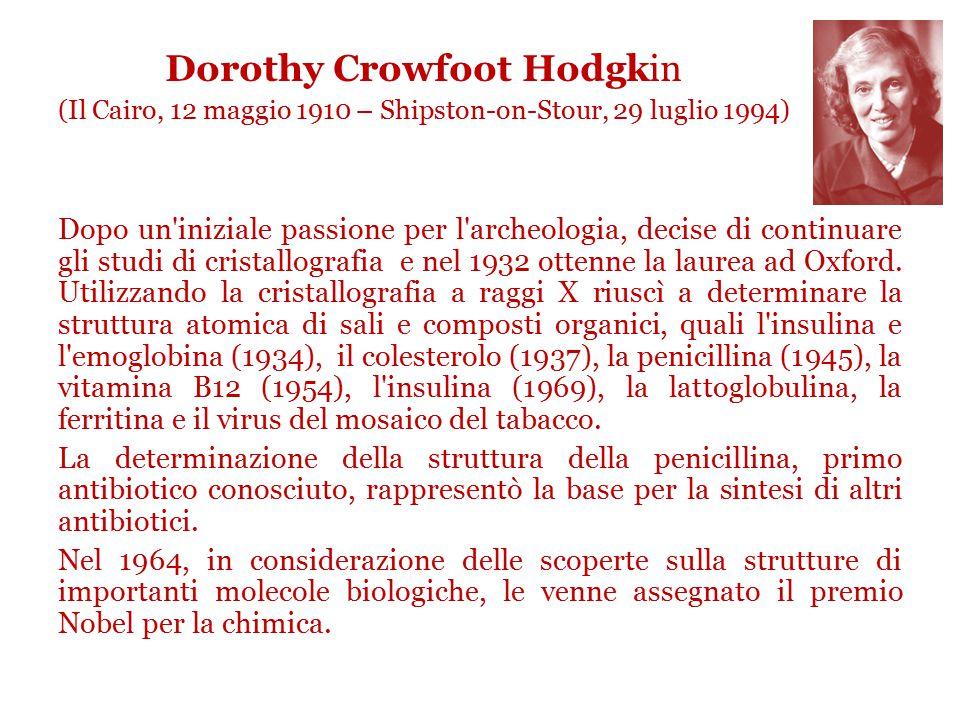 Dorothy Crowfoot Hodgkin (Il Cairo, 12 maggio 1910 – Shipston-on-Stour, 29 luglio 1994) Dopo un iniziale passione per l archeologia, decise di continuare gli studi di cristallografia e nel 1932 ottenne la laurea ad Oxford.