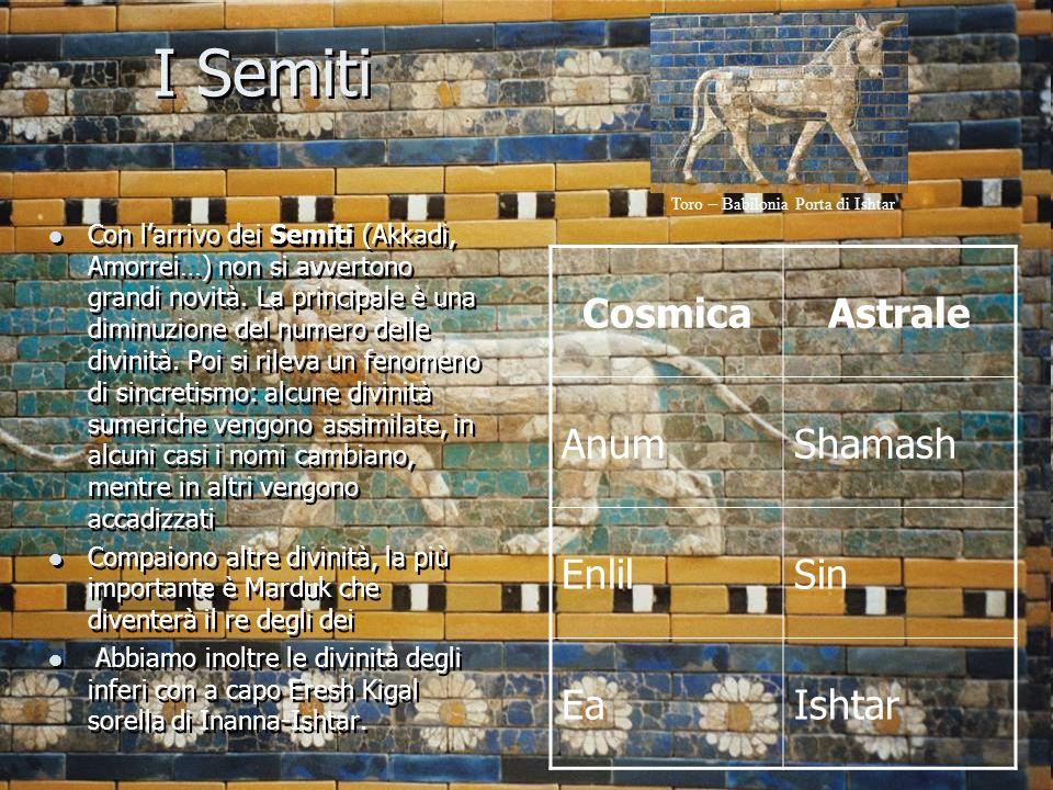 I Semiti Con l'arrivo dei Semiti (Akkadi, Amorrei…) non si avvertono grandi novità. La principale è una diminuzione del numero delle divinità. Poi si