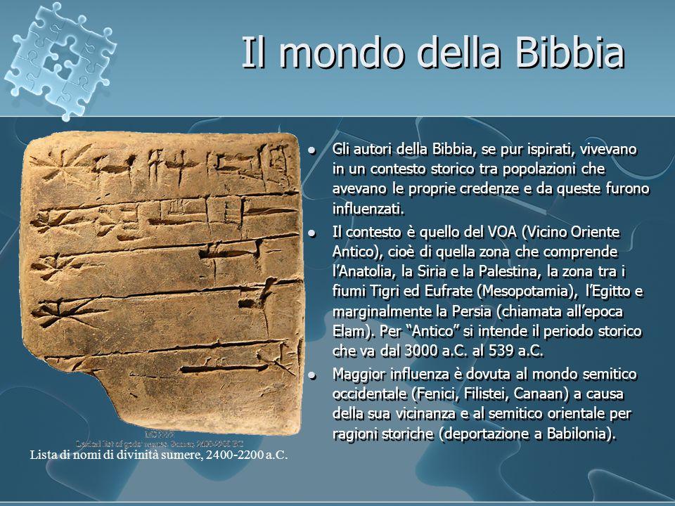 Il mondo della Bibbia Gli autori della Bibbia, se pur ispirati, vivevano in un contesto storico tra popolazioni che avevano le proprie credenze e da queste furono influenzati.